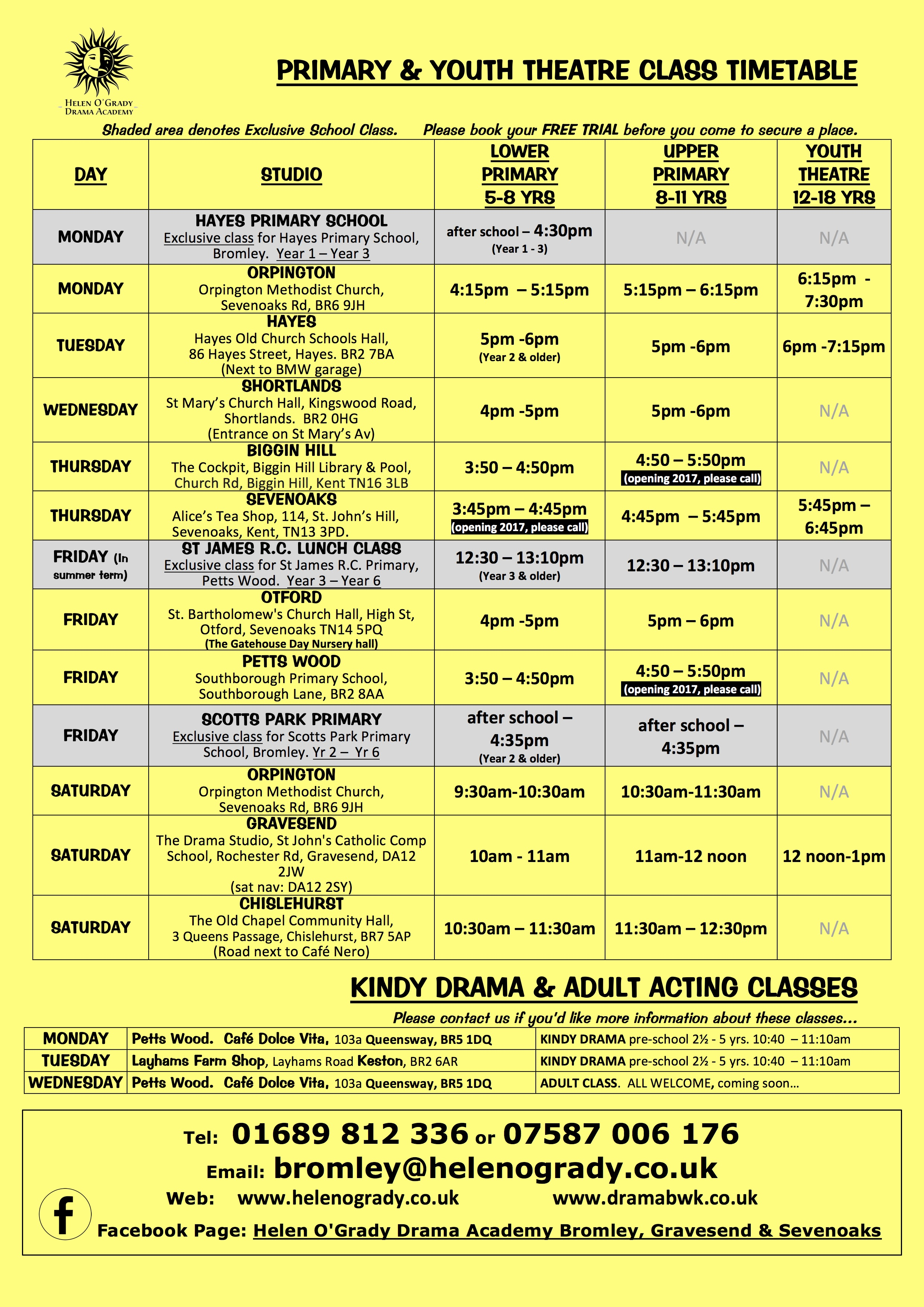 Class timetable April 2017 ALL classes yellow background